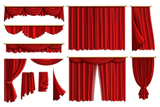 赤いカーテン。現実的な豪華なカーテンコーニスの装飾国内生地インテリアカーテン布ランブレキン、イラストを設定します。