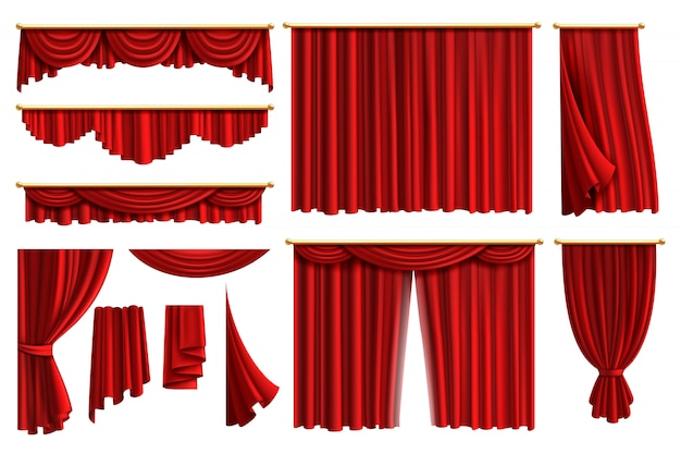 Red curtains. set realistic luxury curtain cornice decor domestic fabric interior drapery textile lambrequin, illustration