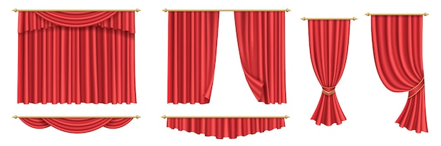 Red curtains. set of realistic luxury curtain cornice decor fabric for interior drapery textile for event opening, ceremony, cinema or stage. 3d vector illustration