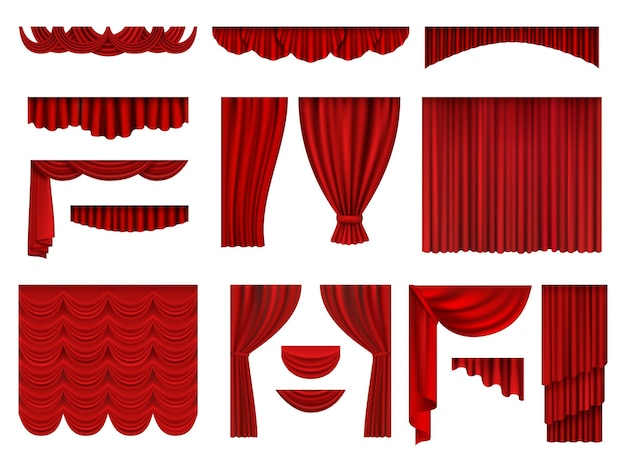 빨간 커튼. 섬유 연극 오페라 장면 장식 커튼 현실적인 컬렉션 집합.