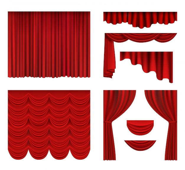 赤いカーテン。映画館やオペラホールの豪華なカーテンの現実的な劇場の生地の絹の装飾