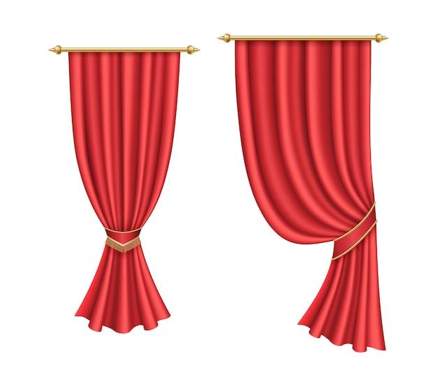赤いカーテン。映画館やオペラホールの豪華な舞台のための劇場生地のシルク装飾。リアルなカーテンレッド、オペラ、映画の生地。 3dベクトルイラスト