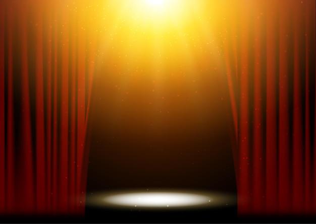 빨간 커튼 극장 장면 무대 배경. 벡터 쇼 배경 공연 콘서트