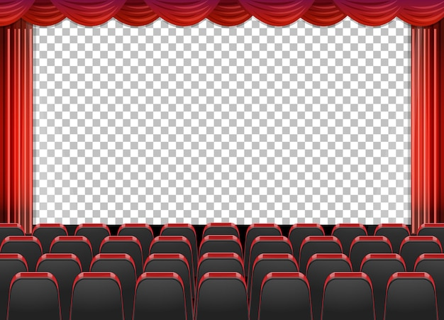 Red curtains in theater with transparent background