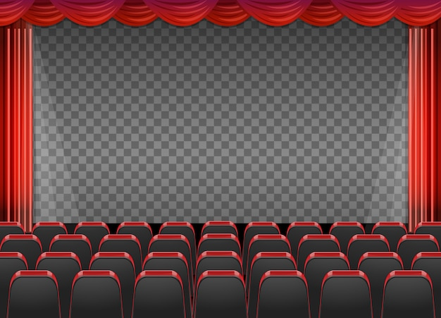 Red curtains in theatre with transparent background