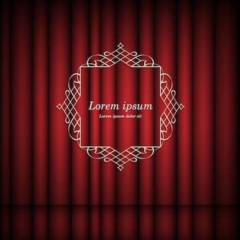 Red curtains and vintage frame with space for text