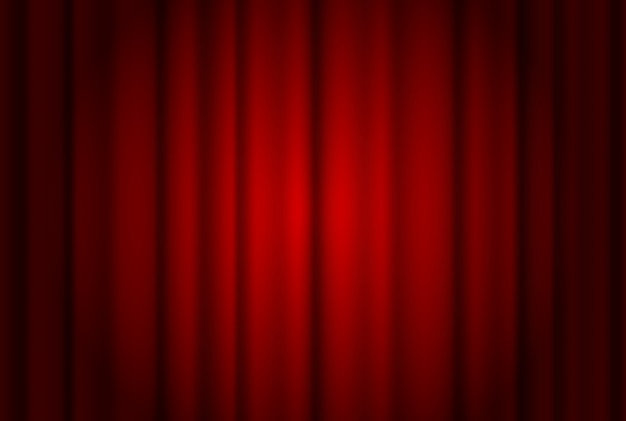 Red curtains wide background illuminated by a beam of spotlight. red theater show curtain