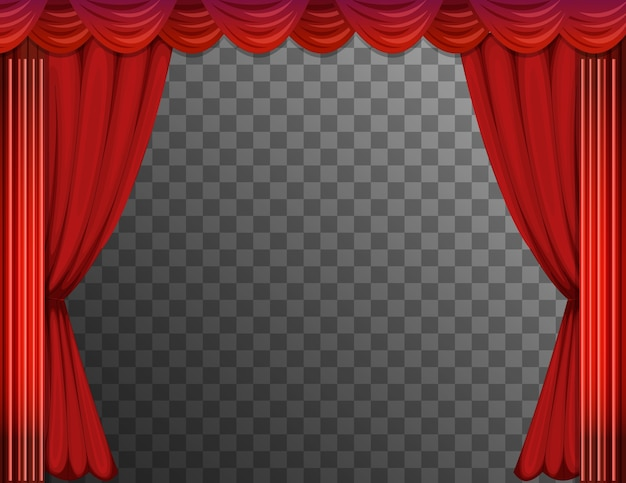 Red curtains with transparent background