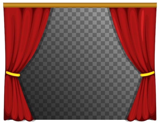 透明な背景の赤いカーテン