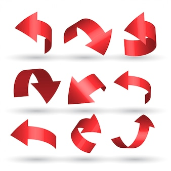 Red curved arrows set in 3d style