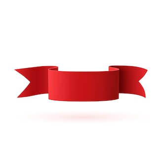 Red, curved paper ribbon  on white background. banner template.  illustration.