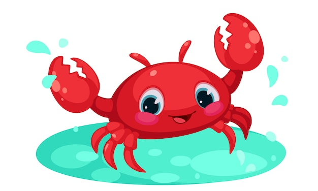Red cute crab cartoon in water pond