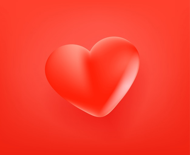 赤いかわいいハートのアイコン。 3dコミックスタイル