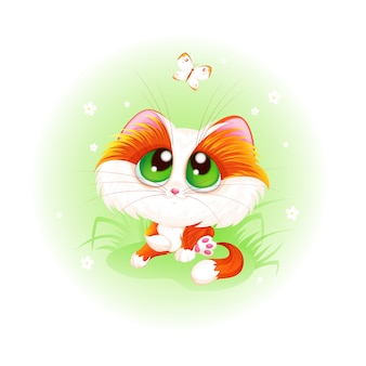 Red cute kitten looks at a white butterfly.
