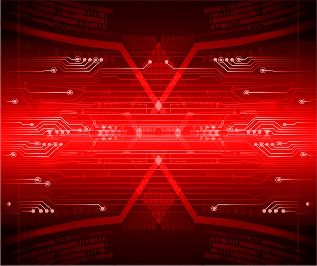 Red cyber circuit future technology background