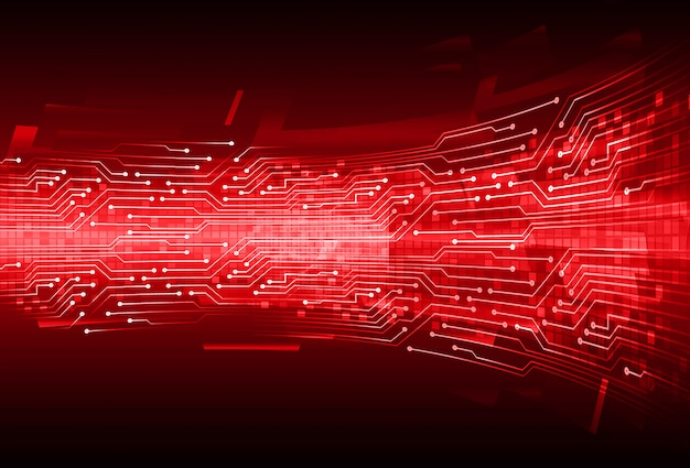 Red cyber circuit future technology concept background