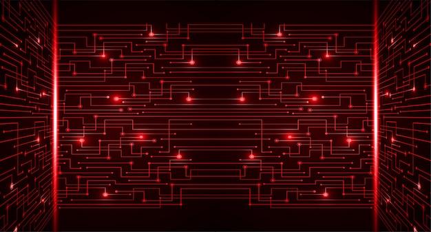 赤いサイバー回路将来の技術コンセプトの背景