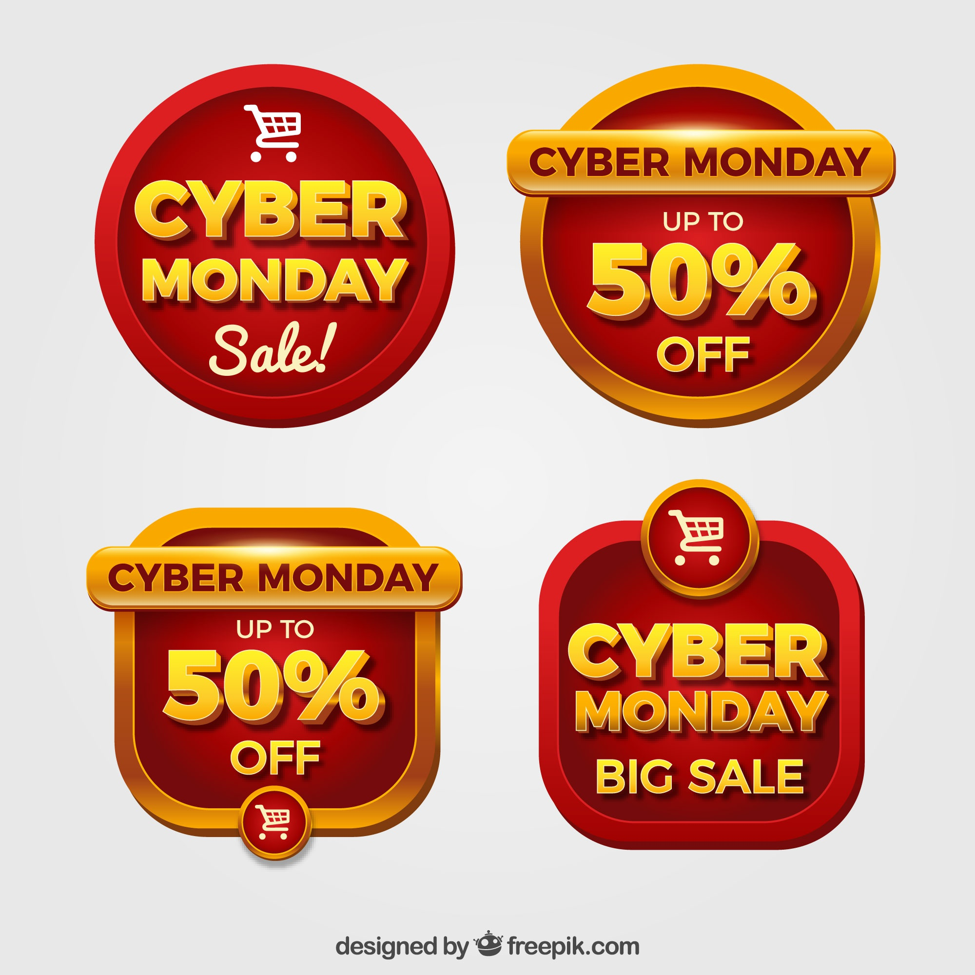 Red cyber monday labels