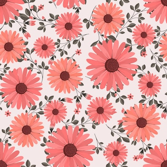 Red daisy flowers wreath ivy style with branch and leaves, seamless pattern