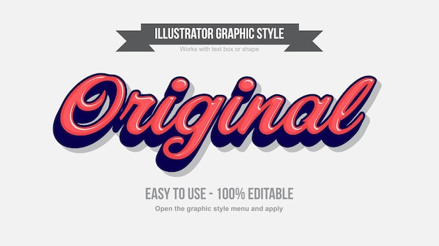 Red and dark blue 3d modern cursive editable text effect Premium Vector