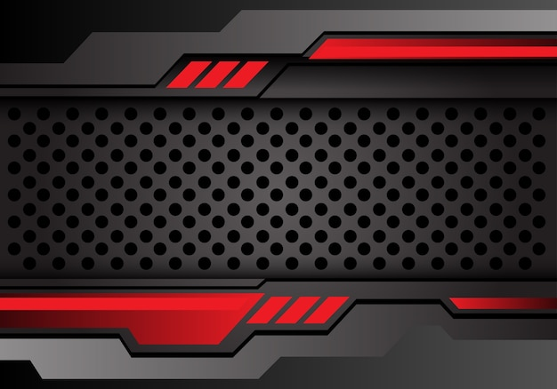 Red dark gray circle mesh futuristic style background.