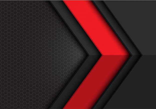 Red dark grey arrow direction hexagon  background.