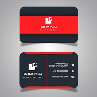 Red & Dark Grey Business Card