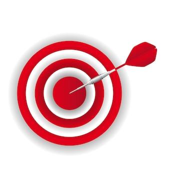 Red dart over dartboard