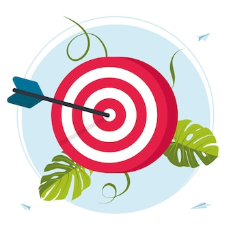 Red dartboard. business vision, big target, run to their goal,for web banner, infographics, mobile. move up motivation, target achievement, successful contract teamwork. vector illustration