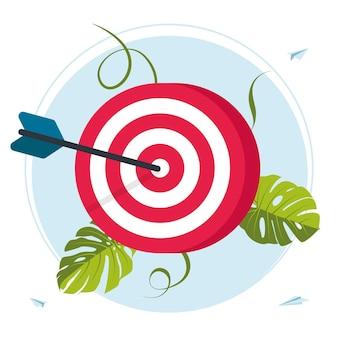 빨간 다트판. 큰 목표인 비즈니스 비전은 웹 배너, 인포그래픽, 모바일을 위해 목표를 달성합니다. 동기 부여, 목표 달성, 성공적인 계약 팀워크를 이동합니다. 벡터 일러스트 레이 션