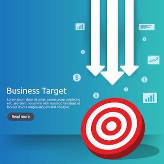 赤いダーツボードのセンターゴール。戦略の達成とビジネスの成功のフラットデザイン。アーチェリーダーツターゲットとバナーや背景の矢印。グラフとドルのアイコンイラストのコンセプト