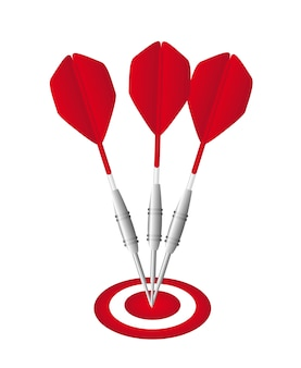 Red darts with dartboard isolated