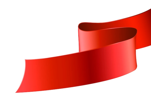 Red decorative ribbon isolated on white