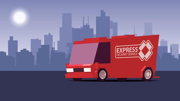 Красный грузовик доставки на фоне городского пейзажа. иллюстрация в стиле isoflat.