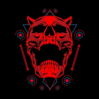 Red demon skull illustration with sacred geometry