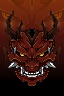 Красный демон с деревянным рогом векторные иллюстрации