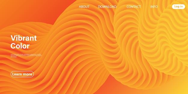 レッドデザイン。 3dポスター。抽象フロー。赤、オレンジ、黄色の色。明るいグラデーション。流体の背景。