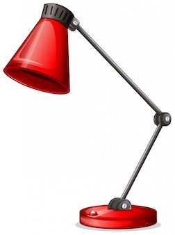A red desk lampshade