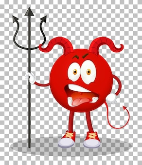 A red devil cartoon character with facial expression on transparent background
