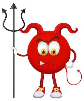 Un personaggio dei cartoni animati del diavolo rosso con espressione facciale