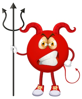 A red devil cartoon character with facial expression