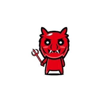赤い悪魔のキャラクター漫画ベクトルデザインマスコットアート