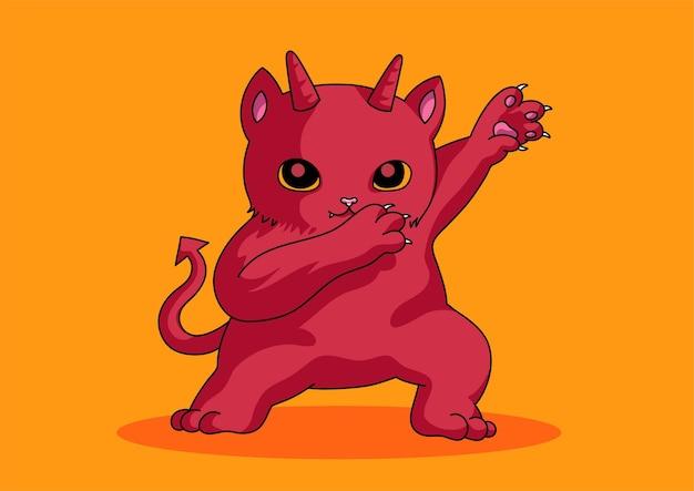 赤い悪魔のかわいい猫がハロウィーンを軽くたたく