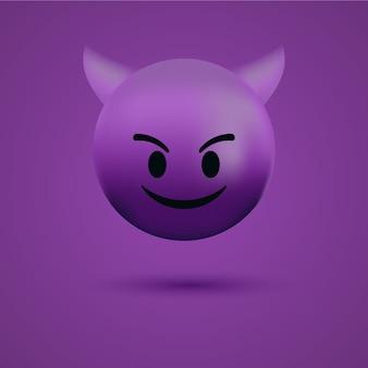 붉은 악마 이모티콘 얼굴 또는 나쁜 사악한 이모티콘