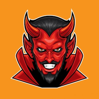 Red devil head mascot