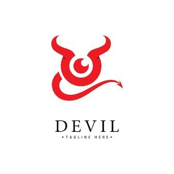 赤い悪魔のロゴのベクトルアイコンテンプレート