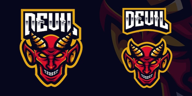 Red devil mascot gaming logo template for esports streamer facebook youtube