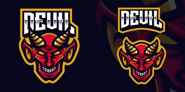 Esports streamer facebook youtube용 red devil 마스코트 게임 로고 템플릿