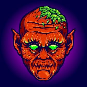 Red devil out brains 소름 끼치는 벡터 삽화는 작업 로고, 마스코트 상품 티셔츠, 스티커 및 라벨 디자인, 포스터, 비즈니스 회사 또는 브랜드를 광고하는 인사말 카드입니다.