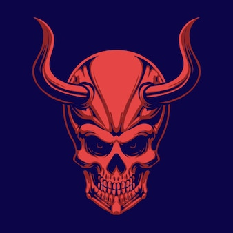 Red devil skull head illustration